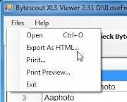 Bytescout XLS Viewer XLS Görüntüleme Programı