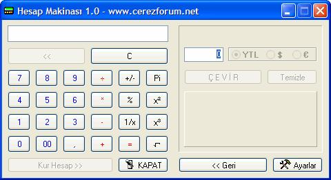 Hesap Makinesi & Kur Çevirici 1.0