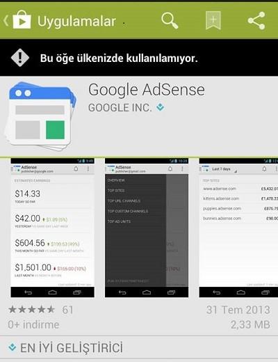 Google AdSense Mobil Uygulaması