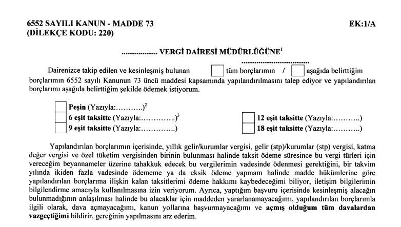 6552 Sayılı Kanun Vergi Borçları Yapılandırma Formu İndir