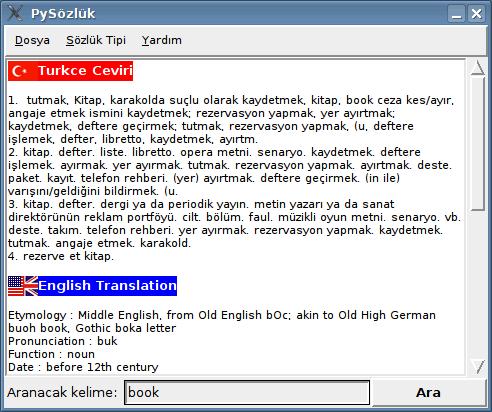 Ücretsiz Pysözlük Türkçe-İngilizce-Almanca Sözlük Programı