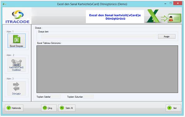 Excel den Sanal kartvizit(vCard)e Dönüştürme Programı