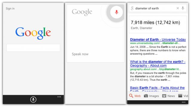Google Search Windows Phone Uygulaması
