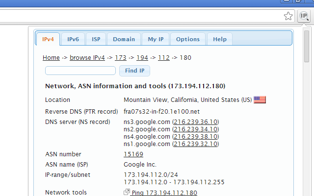 IP Address and Domain Information Chrome